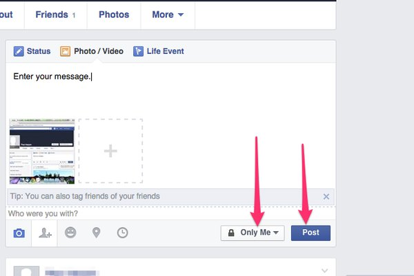 Use additional buttons to the left of the Audience menu to tag the photo and add locations.