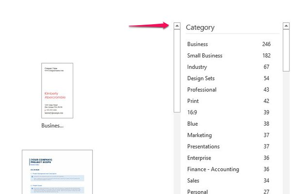 How to find Word templates by category.