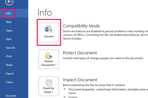 How to convert from compatibility mode in Word.
