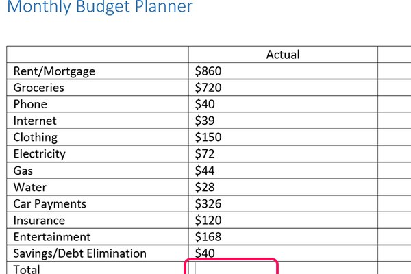Enter your spending amounts and click the last cell in the column.