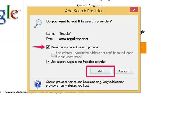 How to set a default search engine in Internet Explorer