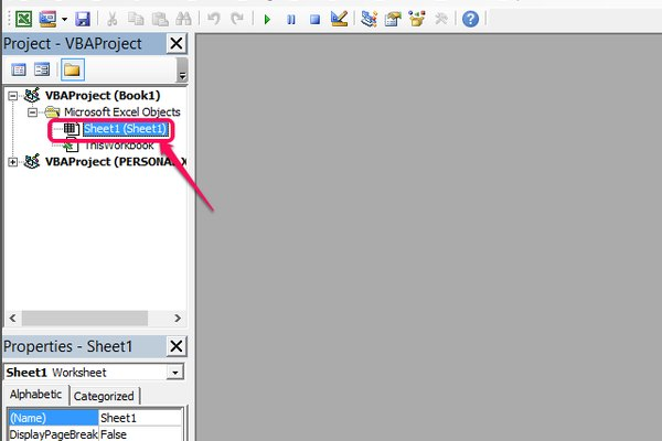 Double-click the sheet in which you want to add scripts.