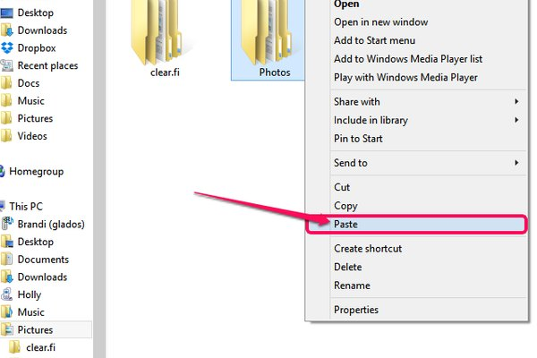 The drop-down menu also gives you the option to delete or rename the Photos folder.