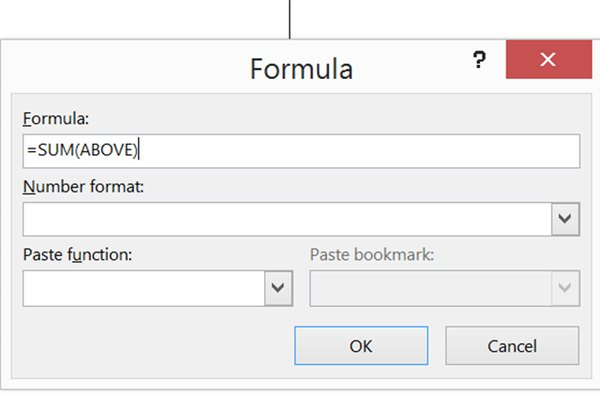 Use Word's default formula to calculate the total.
