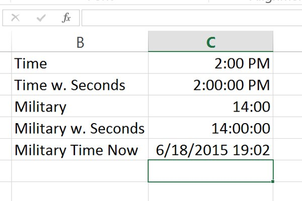 Screenshot of Excel calculating time converison.