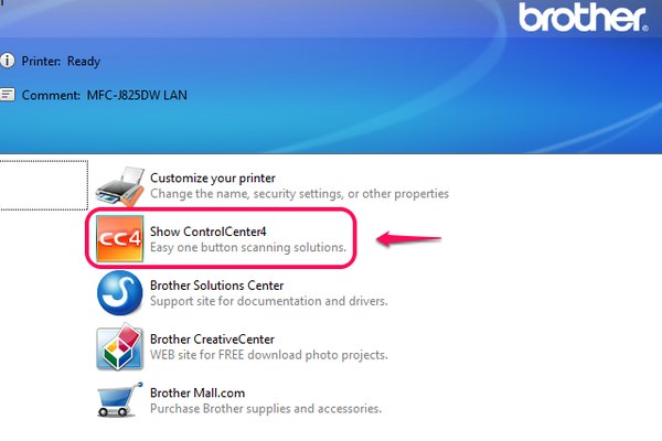 Link to ControlCenter4 from printer settings
