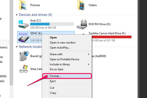 The SD Card context menu with Format selected.