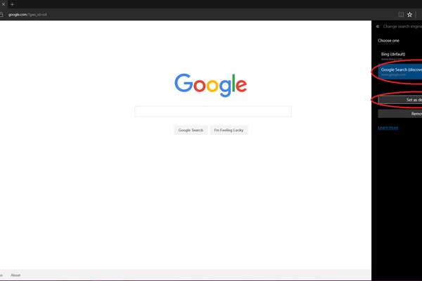 edge set default search engine