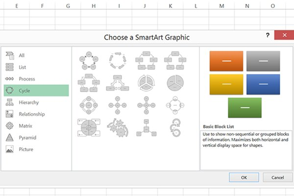 Cycle SmartArt Graphics options.