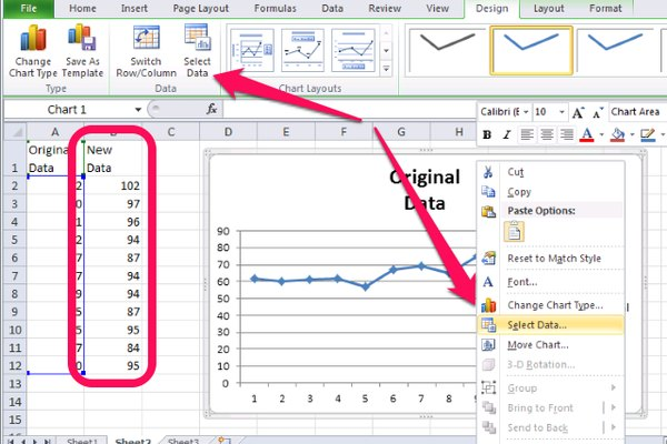 New data has been added to the right of the existing data, including a label, the chart has been selected, and Select Data can be chosen from either the Ribbon or the right-click menu
