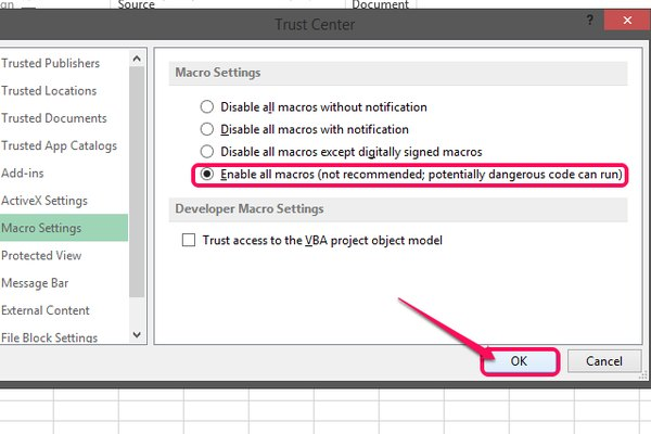 Select the option to enable all macros and click OK.