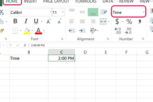 Screenshot of selecting time from number menu in Excel.