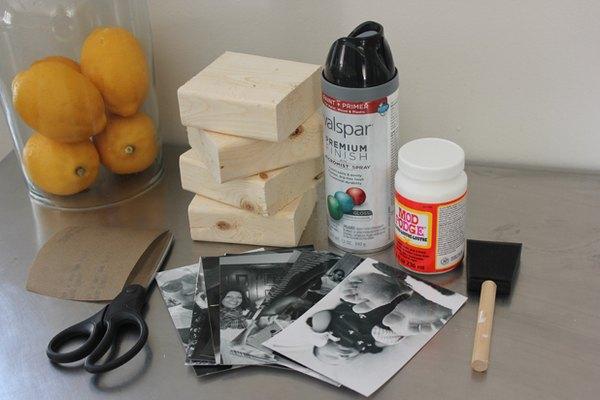Materiales que necesitarás para los bloques de madera para fotos.