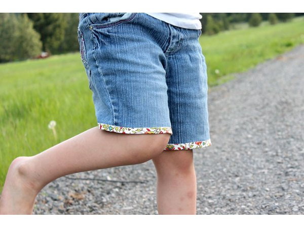 Upcycled jean shorts are perfect for the warm temperatures.
