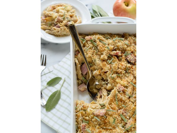 Healthy Ham and Cheese Casserole with Apples and Sage - www.thelawstudentswife.com