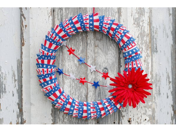 Try a patriotic wreath for the door this Independence Day.