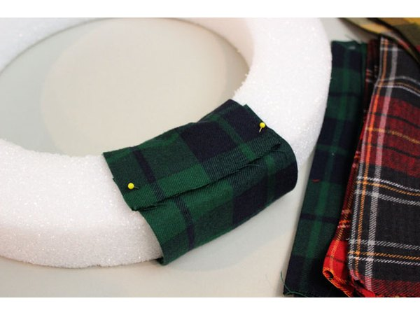 Wrap flannel around the wreath