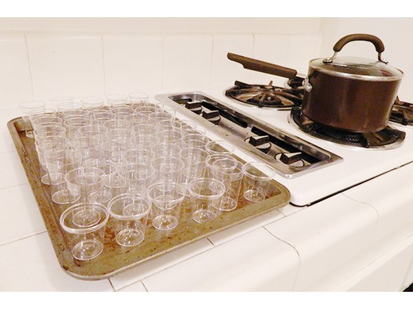 Set up the plastic shot glasses before you start cooking.