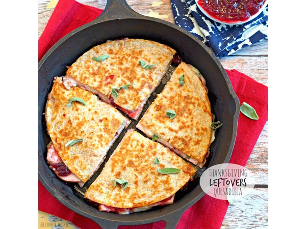 Thanksgiving Leftovers Quesadilla - www.thecookierookie.com
