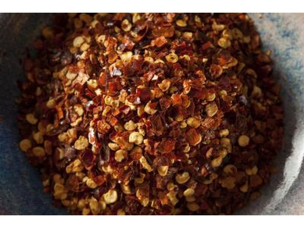 Close-up of red pepper flakes