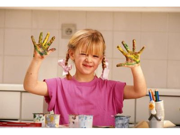 child fingerpainting