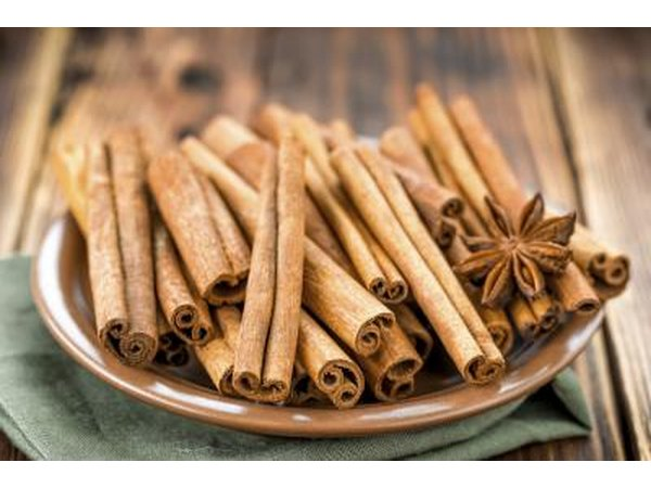 Dish of cinnamon sticks