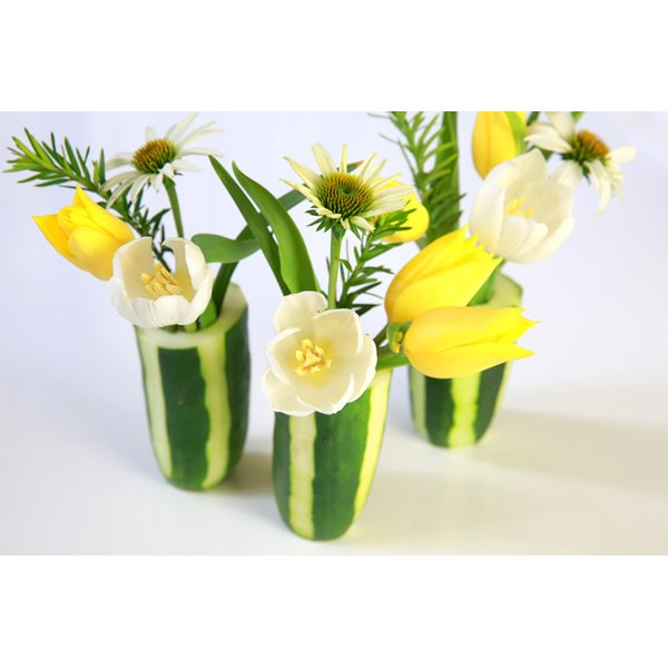 Cucumbers arent just for saladshow to turn an ordinary vegetable cucumbers arent just for saladshow to turn an ordinary vegetable into a charming flower vase mightylinksfo