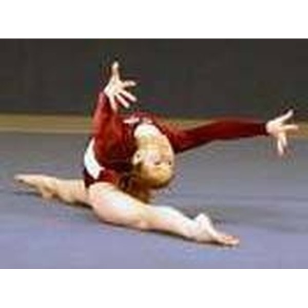 A gymnast doing front splits.