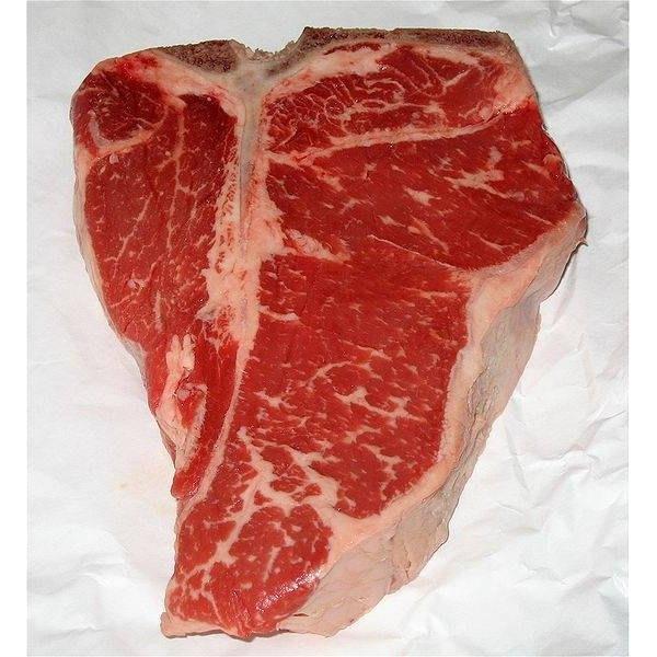 Well-marbled T-bone steak.