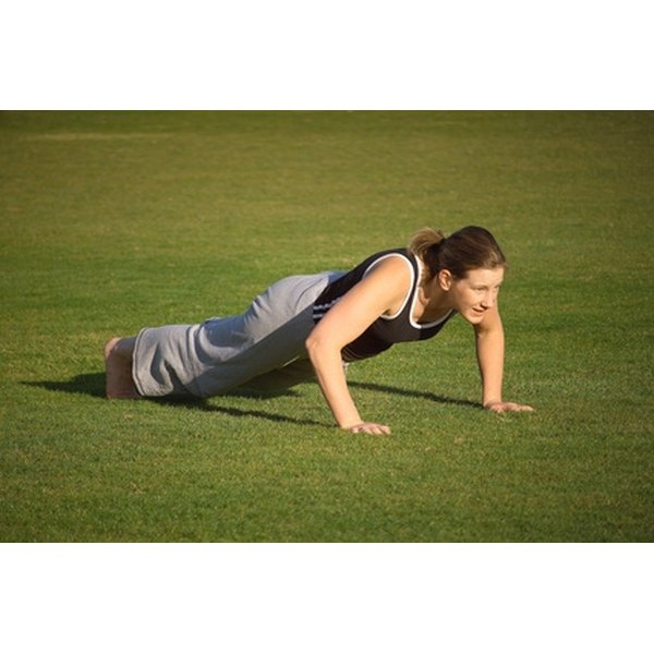 Push-ups train the entire upper body, including the biceps.