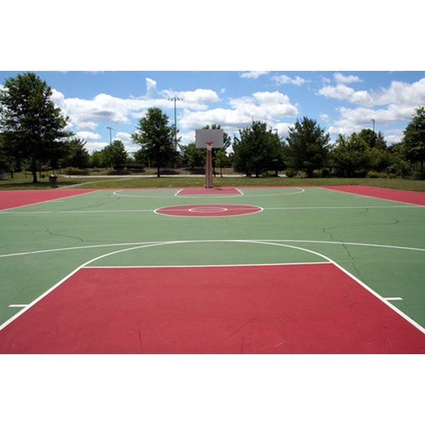 The lane on this basketball court is red.