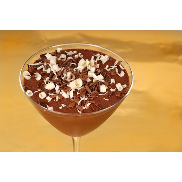 Chocolate martinis can be garnished with chocolate shavings.