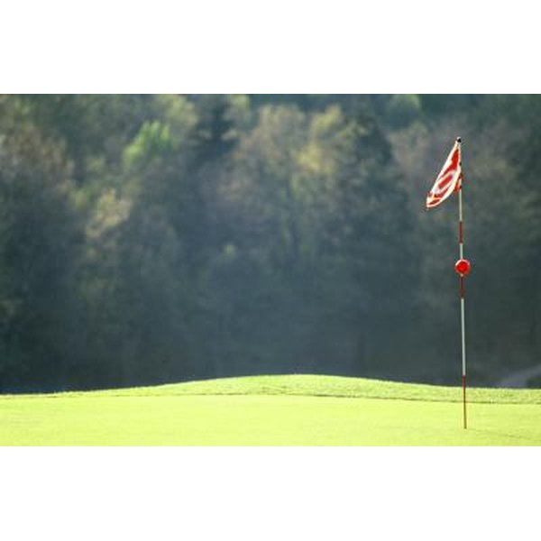 A flag on a golf green blows in the wind.