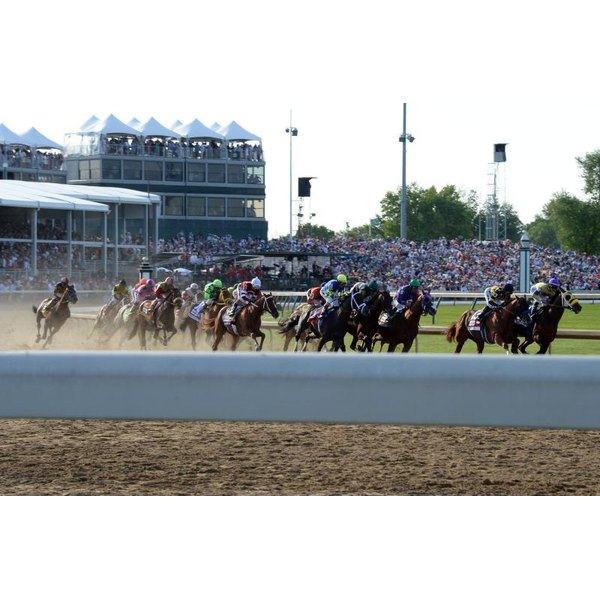 Horses racing during the Kentucky Derby.