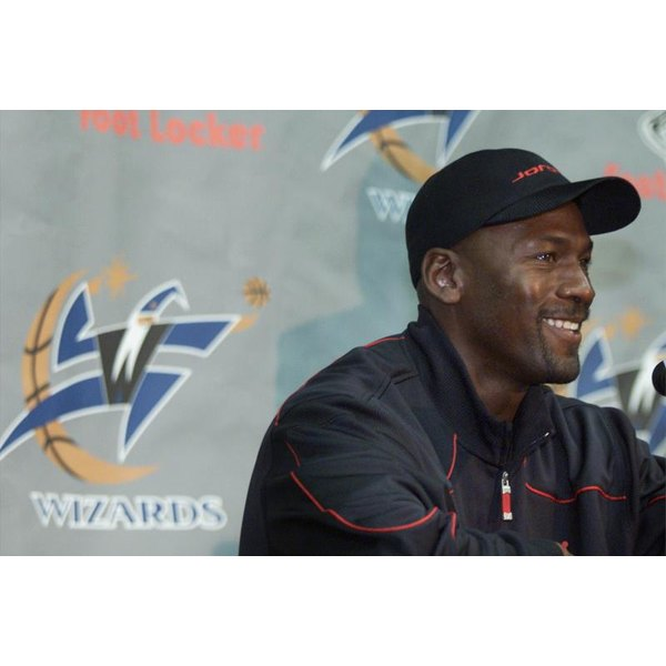 Michael Jordan speaks at a Washington Wizards press conference.