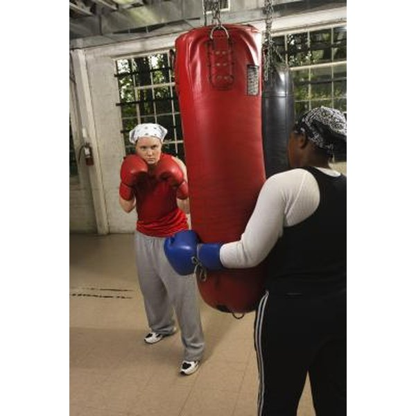 Punching bags can be hung from various places for easy use.