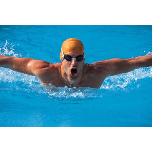 Man swimming the butterfly stroke.