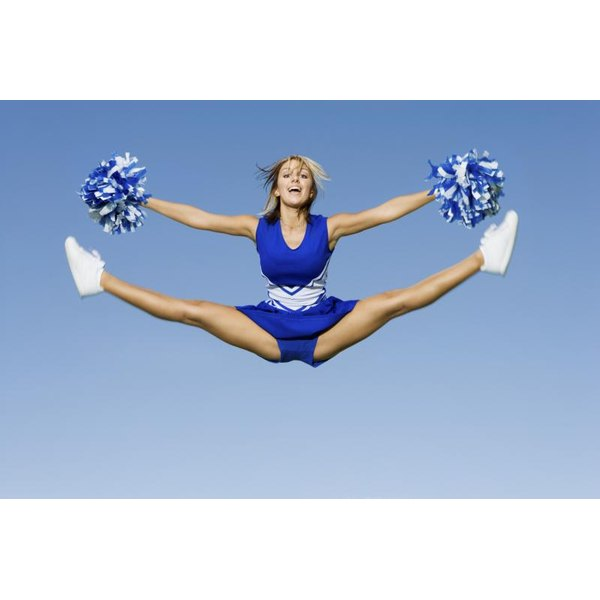 Cheerleader performing a jump.
