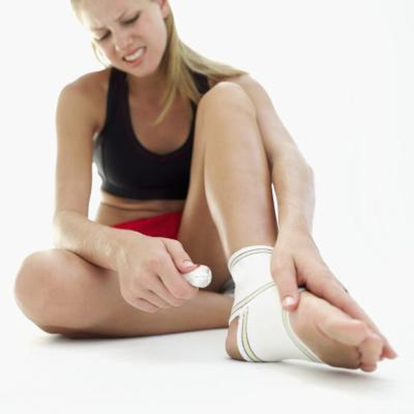 Wrap a sprained ankle with a compression bandage.