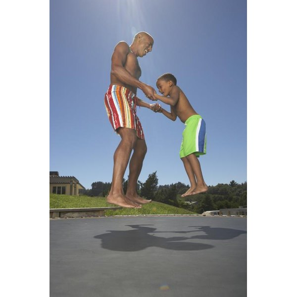 Use the trampoline as a family to emphasize fitness for everyone.