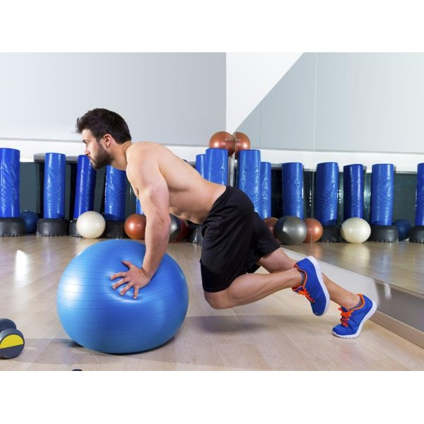 To make mountain climbers more exacting, use a stability ball.