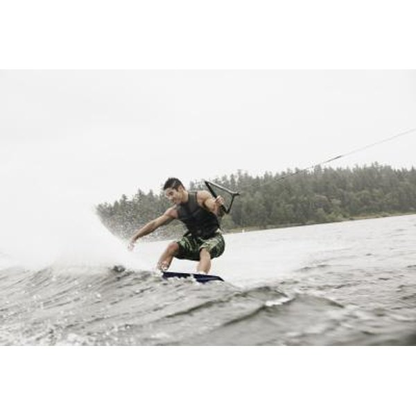 A half or full wet suit is commonly worn by wakeboarders.