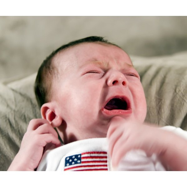 Long periods of crying may indicate colic, but you can use a few remedies to help ease your six-week-olds discomfort.