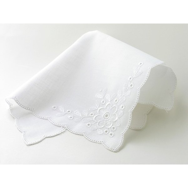 Hand embroider a message in a handkerchief as a wedding gift for your granddaughter.