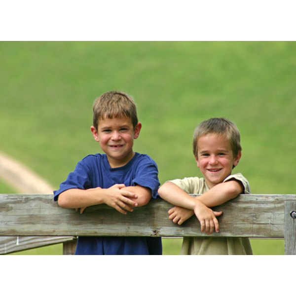 Two brothers at a barn