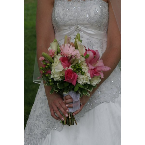 Beads, pearls and crystals can be added to enhance a wedding dress.