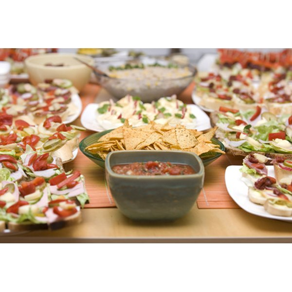 Finger foods usually consist of a variety of canapes and dips.