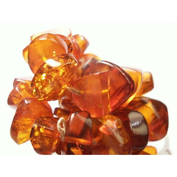 Amber stones are often placed in silver settings.