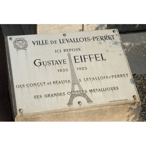 The commemorative plaque for Gustave Eiffel
