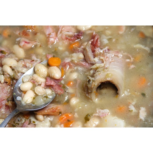 De-gas white beans and ham during the preparation to avoid embarrassment after eating.